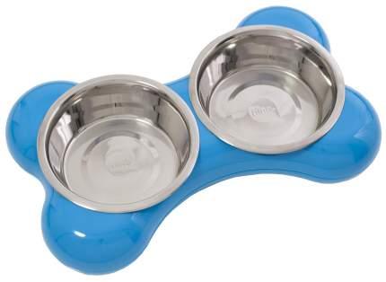 Двойная миска для кошек и собак Hing, пластик, сталь, голубой, серебристый, 2 шт по 0.25 л