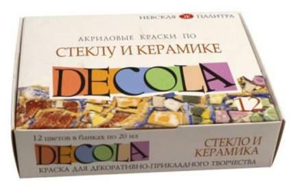 Акриловые краски Невская Палитра Decola По стеклу и керамике 12 цветов