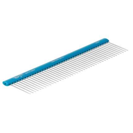 Расческа Hello Pet алюминиевая с овальной синей ручкой, 19,2 см, зуб 3,4 см