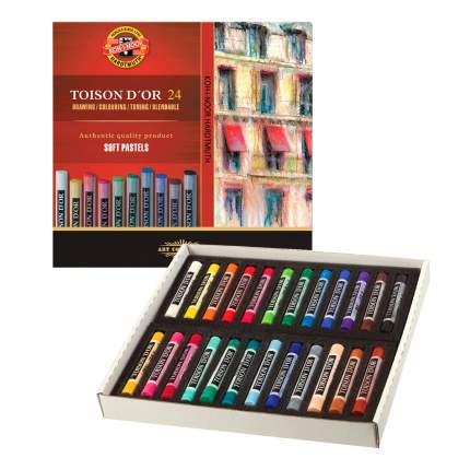 Пастель мягкая художественная Koh-i-noor Toison D'or, 24 цвета, круглое сечение