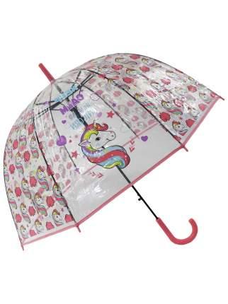 Зонт-трость МихиМихи Единорог Keep Calm and be Unicorn прозрачный купол, розовый