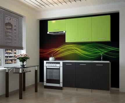 Кухонный гарнитур НКМ Ханко 190 см Венге / Зеленый бархат