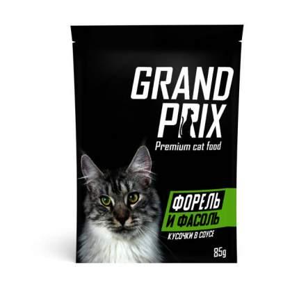 Влажный корм для кошек Grand prix, Форель и фасоль, кусочки в соусе, 85г