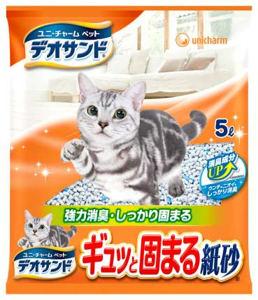 Впитывающий наполнитель для кошек UNICHARM бумажный, 2.3 кг, 5 л