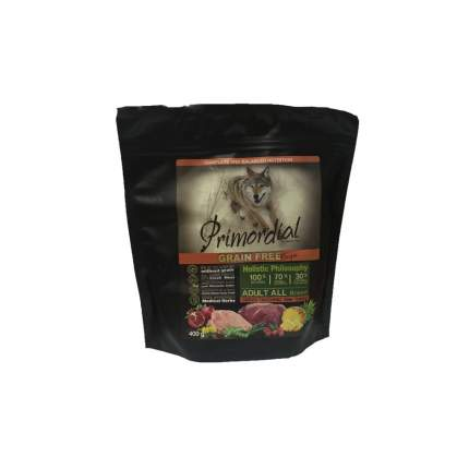 Сухой корм для собак Primordial Grain Free Adult All, индейка, оленина, 0.4кг