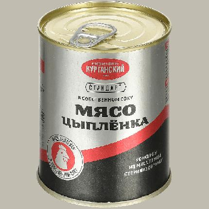 Мясо цыпленка Курганский МК в собственном соку стандарт 350 г