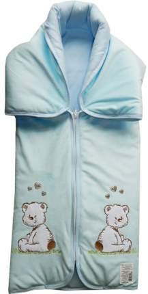 Конверт-одеяло Папитто на молнии с вышивкой Голубой 82*92 53-150