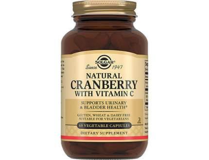 Натуральная клюква с витамином С Solgar 60 капсул