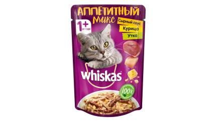 Влажный корм для кошек WHISKAS Микс в сырном соусе курица, утка 85г