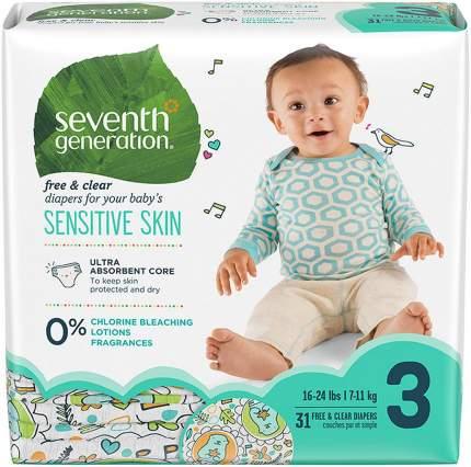 Детские гипоаллергенные подгузники Seventh generation без запаха 31шт 3 размер 7-11 кг