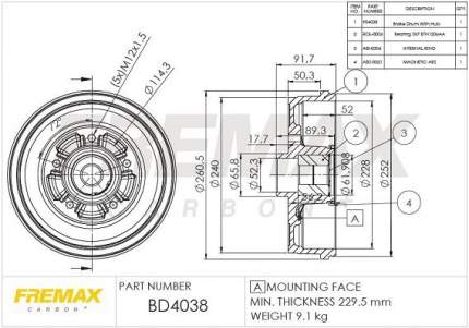 Тормозной барабан FREMAX BD-4038
