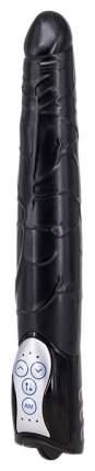 Чёрный вибромассажер Long John Realistic Thrusting Vibrator с функцией толкания 20 см