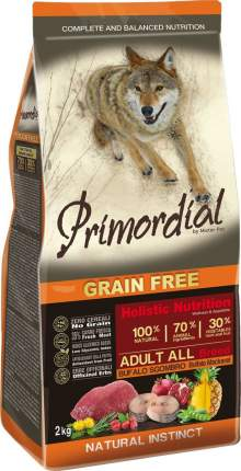 Сухой корм для собак Primordial Grain Free Adult All, буйвол, макрель, 2кг