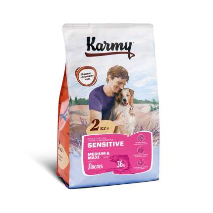 Сухой корм для собак Karmy Sensitive Medium & Maxi, средних и крупных пород, лосось, 2кг