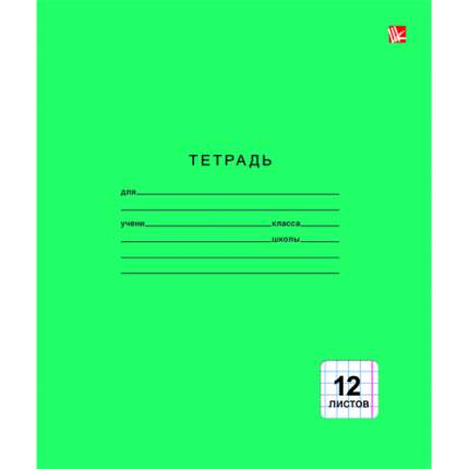 "Тетрадь ""Однотонная зеленая"" (А5, 12л, скрепка, клетка), ТК124998"