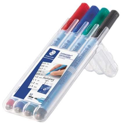 Набор Staedtler маркеров Lumocolor M, с ластиком, 4 цвета в наборе