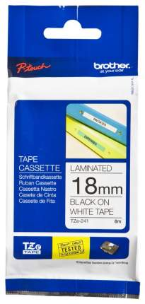 Лента для печати наклеек Brother TZe-241 Black on white 18 мм