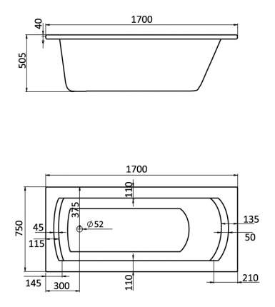 Акриловая ванна Santek Монако XL 170х75 без гидромассажа
