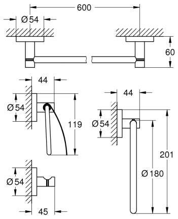 Набор для ванной комнаты Grohe Essentials 4 в 1 Master Bathroom 40776DC1 Supersteel
