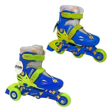 Роликовый коньки Moby Kids 2 в 1 сине-зеленые р, 26-29