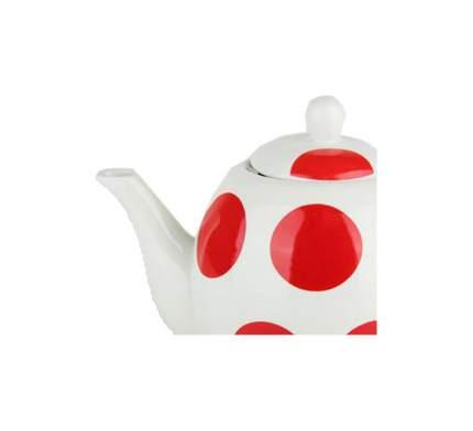 Чайник заварочный Коралл 1333 Красный горох Белый; красный