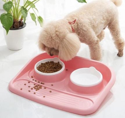 Двойная миска с подносом для домашних животных Nicovaer, розовая, 45х35х8 см