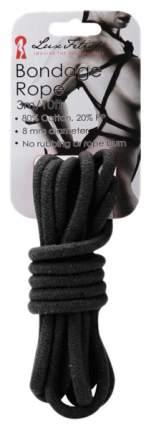 Веревка для шибари Lux Fetish хлопковая черная 3 м