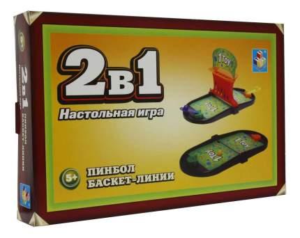 Настольная игра 1Toy 2 в 1 пинбол/баскет-линии 41,9х26,3х6 см