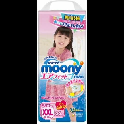 Подгузники-трусики для девочек Moony Super Big (13-25 кг), 26 шт.