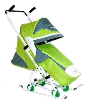 Санки-коляска R-Toys Скользяшки Мозаика салатовый/серый/белый