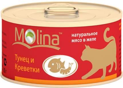Консервы для кошек Molina, с тунцом и креветками в желе, 80г