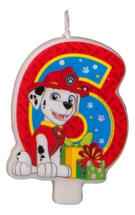 Свеча-цифра Paw Patrol № 6 31358