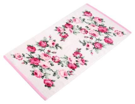 Банное полотенце Valtery белый, розовый
