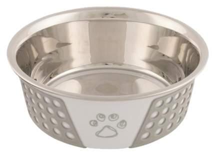 Одинарная миска для собак TRIXIE, сталь, ПВХ, серебристый, серый, белый, 0.75 л
