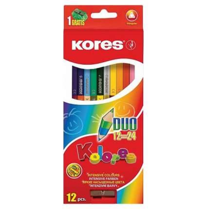 Карандаши цветные Kores Kolores экстра мягкие трехгранные двойные 24 цвета 12 штук