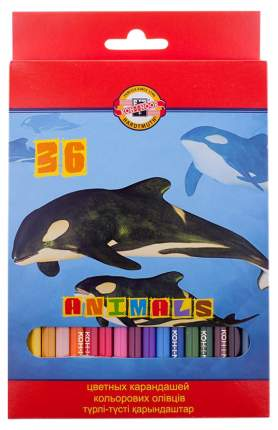 Карандаши цветные KOH-I-NOOR Животные 36 цветов