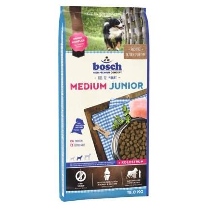 Сухой корм для щенков Bosch Medium Junior, для средних пород, домашняя птица, 15кг