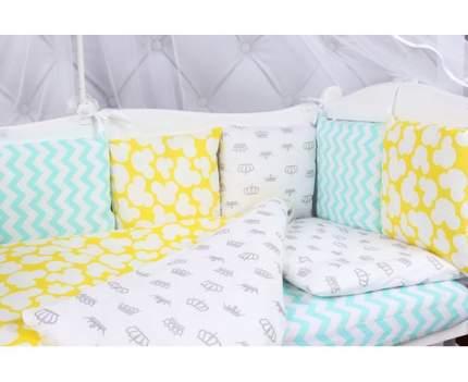 Бортик в кроватку 12 предметов AmaroBaby HAPPY BABY (мятный/желтый, бязь)