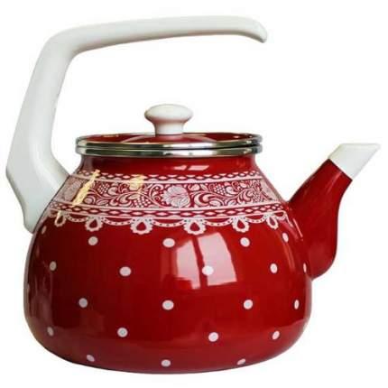 Чайник для плиты Interos Ажур красный,3,0л, эмалированный с крышкой