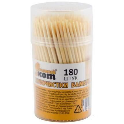 Зубочистки Рыжий кот TP-180, бамбуковые, 180 штук