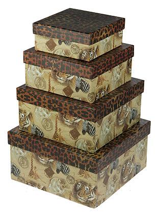"Комплект коробок ""Сафари"", 4 штуки, 23x23x12 см"