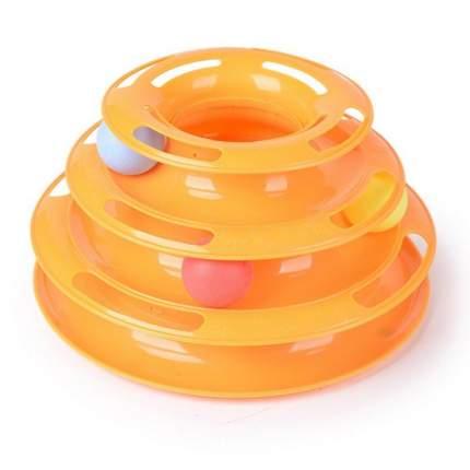 Игрушка для кошек Киспис, трек интерактивный трехъярусный, оранжевый