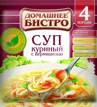 Суп куриный Домашнее Бистро с вермишелью  60 г 3 штуки