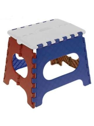 Табурет Трикап складной пластиковый средний, белый/синий/красный