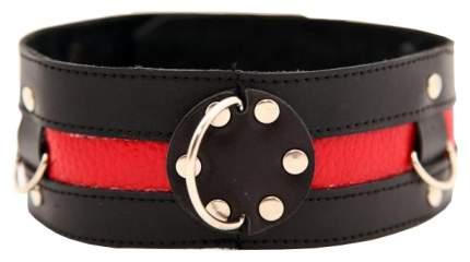 Ошейник BDSM Арсенал с красной полосой черный