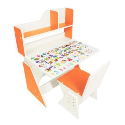 Детская растущая парта и стул Первое место рисунок, бело-оранжевый,