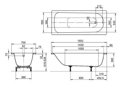 Стальная ванна KALDEWEI Eurowa Star 160х70 без гидромассажа