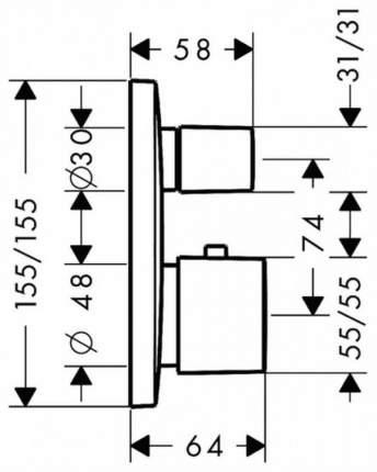 Смеситель для встраиваемой системы Hansgrohe PuraVida 15771000 хром