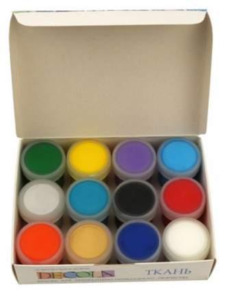 Акриловые краски Невская Палитра Decola по ткани 12 цветов