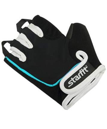 Перчатки для фитнеса StarFit SU-111, черные/белые/голубые, 7